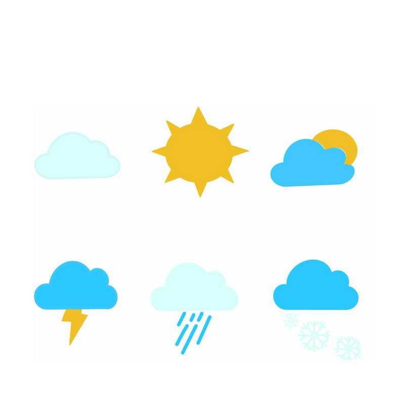 6款扁平化风格卡通天气预报图标6081505图片素材