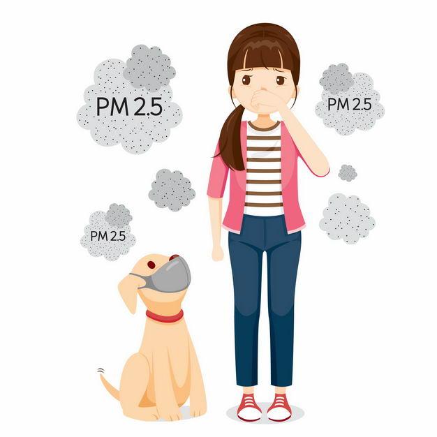 咳嗽的女孩和狗狗PM2.5空气污染空气质量指数1782158矢量图片免抠素材 生活素材-第1张