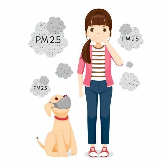 咳嗽的女孩和狗狗PM2.5空气污染空气质量指数1782158矢量图片免抠素材