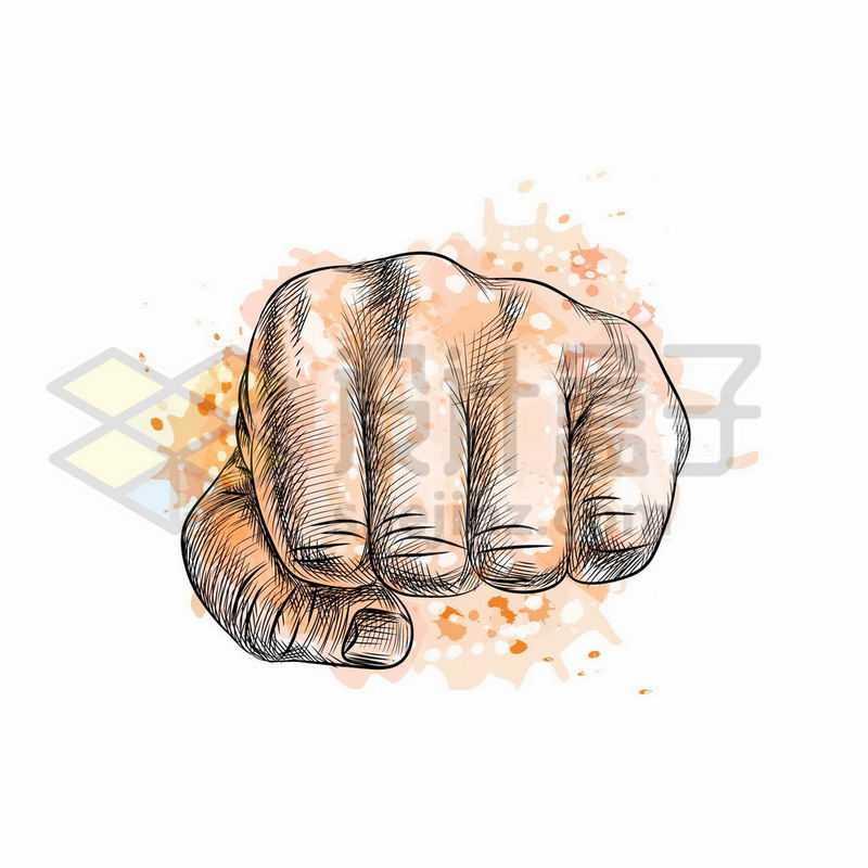 重拳出击的拳头手绘插画8206215矢量图片免抠素材