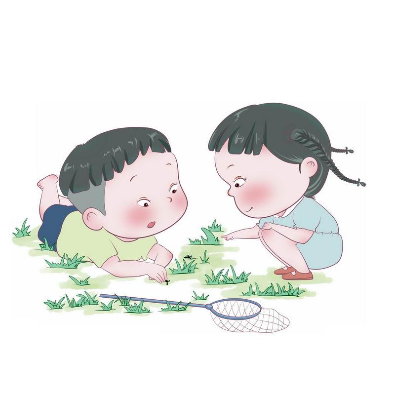 春天里趴在地上研究虫子的卡通小男孩小女孩六一儿童节3936527免抠图片素材 人物素材-第1张
