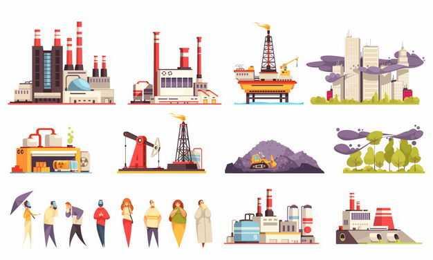 各种卡通化工厂发电厂石油钻井平台空气污染等3685481矢量图片免抠素材