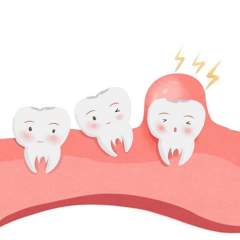 卡通牙齿肿痛牙龈肿胀蛀牙示意图6695907免抠图片素材