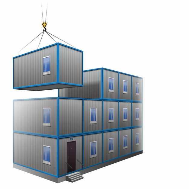 能住人的集装箱房子被吊车叠加在一起9058739矢量图片免抠素材