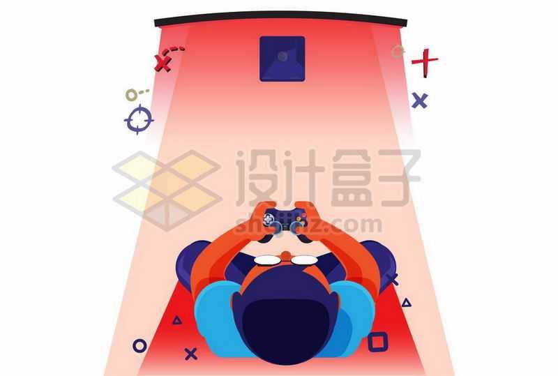 俯视视角的年轻人坐在电视机前打游戏2103351矢量图片免抠素材