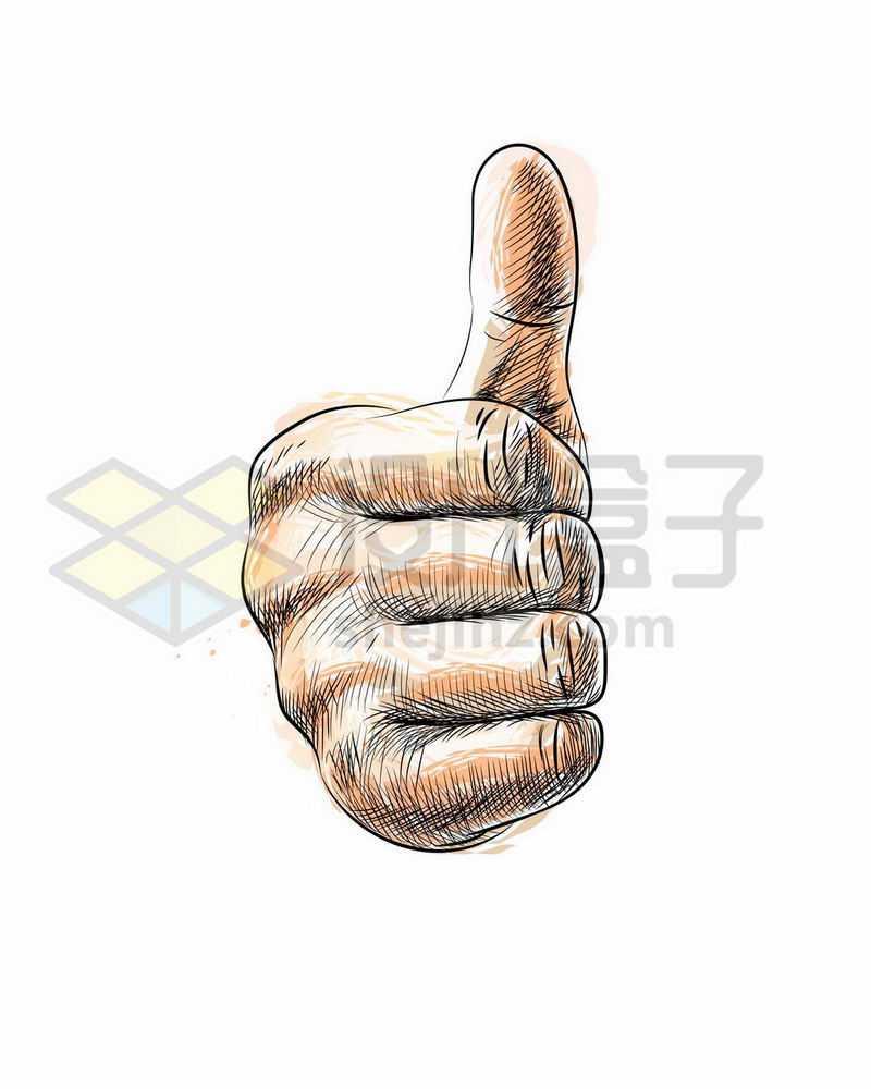 竖起大拇指为你点赞手绘插画2580682矢量图片免抠素材