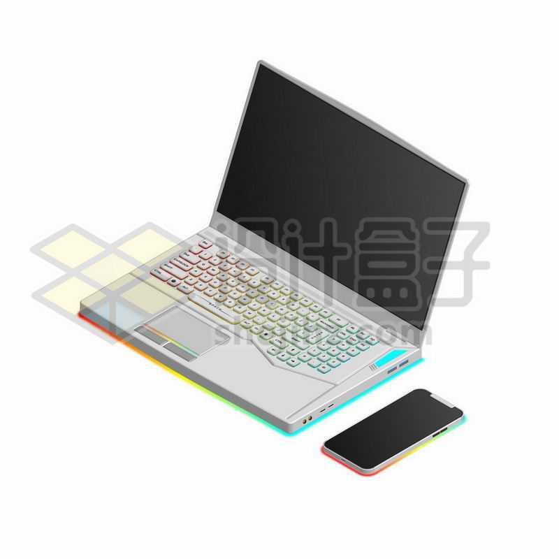彩色键盘的白色游戏笔记本电脑和手机9816791矢量图片免抠素材