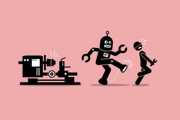 黑色讽刺漫画风格机器人反抗资本家的压榨9803432矢量图片免抠素材