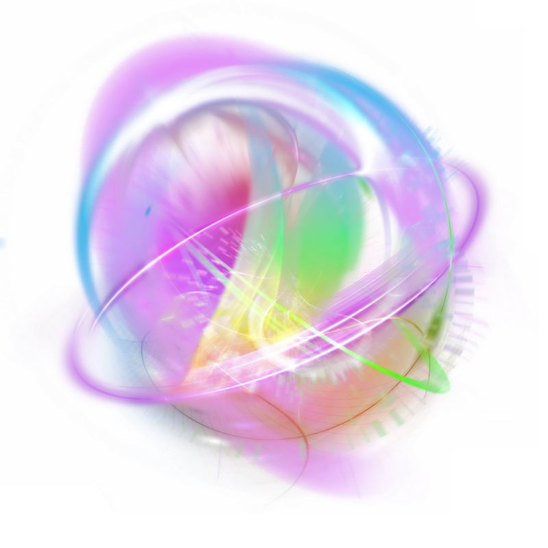 绚丽的多彩光芒光晕光圈发光抽象光球效果7241974免抠图片素材 效果元素-第1张