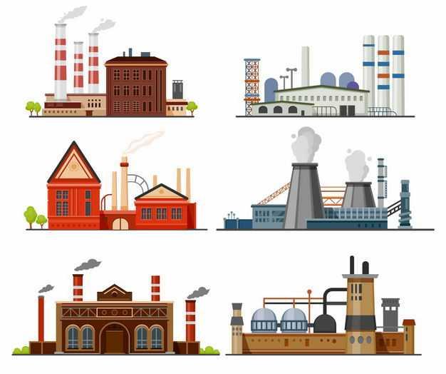 6款大烟囱化工厂发电厂厂房8501900矢量图片免抠素材
