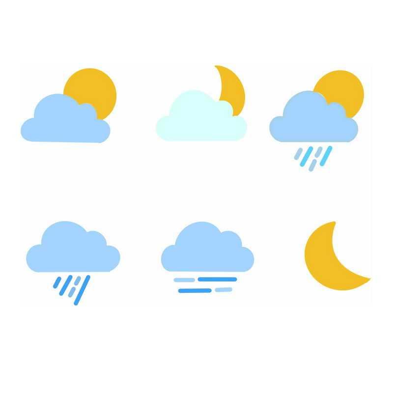 6款扁平化风格卡通天气预报图标5762916图片素材