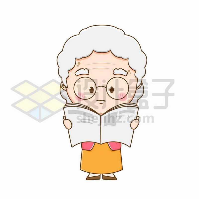 正在读书看报的卡通老奶奶2804915矢量图片免抠素材