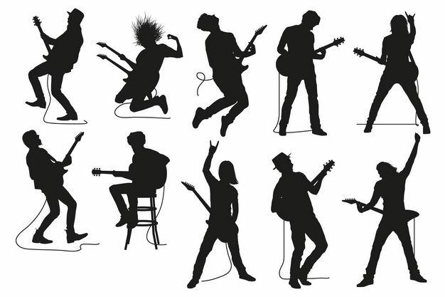 各种音乐弹电吉他乐手人物剪影1955216矢量图片免抠素材 人物素材-第1张