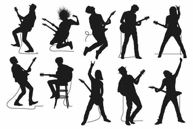 各种音乐弹电吉他乐手人物剪影1955216矢量图片免抠素材