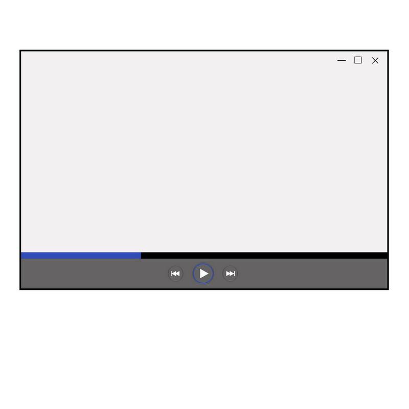 灰色和深蓝色进度条电脑视频播放器界面设计7374080图片素材 UI-第1张