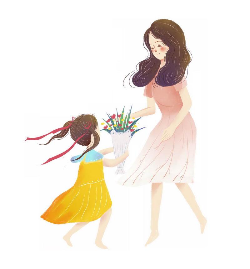 母亲节给妈妈送花的卡通小女孩手绘插画1979168图片素材 人物素材-第1张