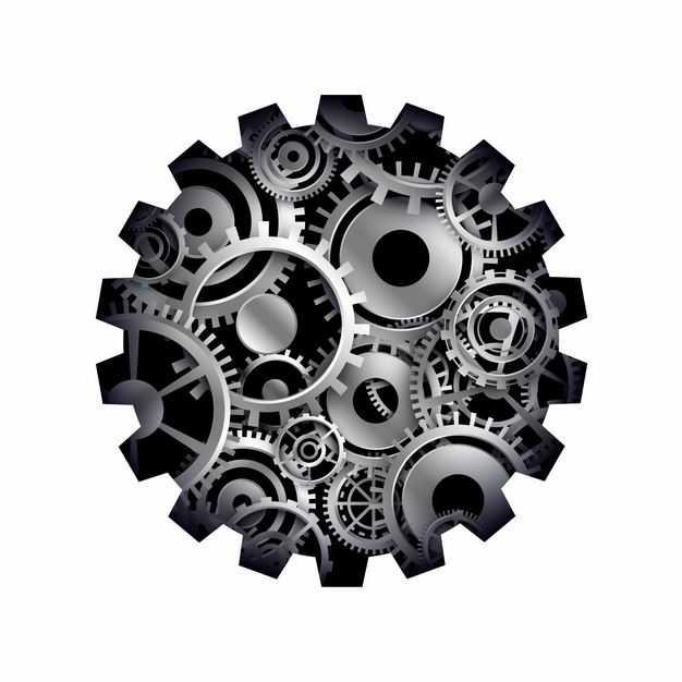 抽象风格各种金属齿轮组成的齿轮图案7062022矢量图片免抠素材