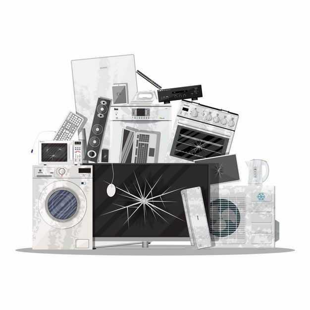 各种洗衣机电视机微波炉空调等报废家用电器电子垃圾2825894矢量图片免抠素材