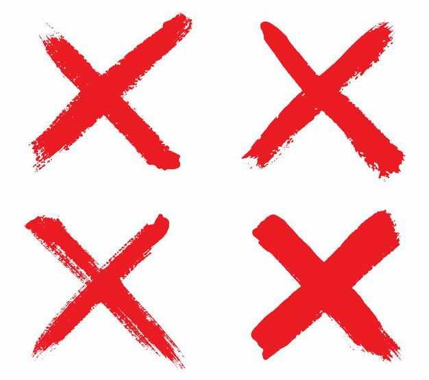 4款红色叉号错号手绘风格1125828矢量图片免抠素材