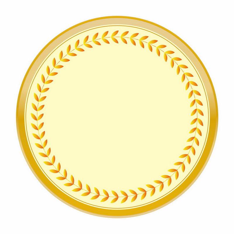 金黄色麦穗树叶徽章标志logo边框装饰5201457AI矢量图片免抠素材 标志LOGO-第1张