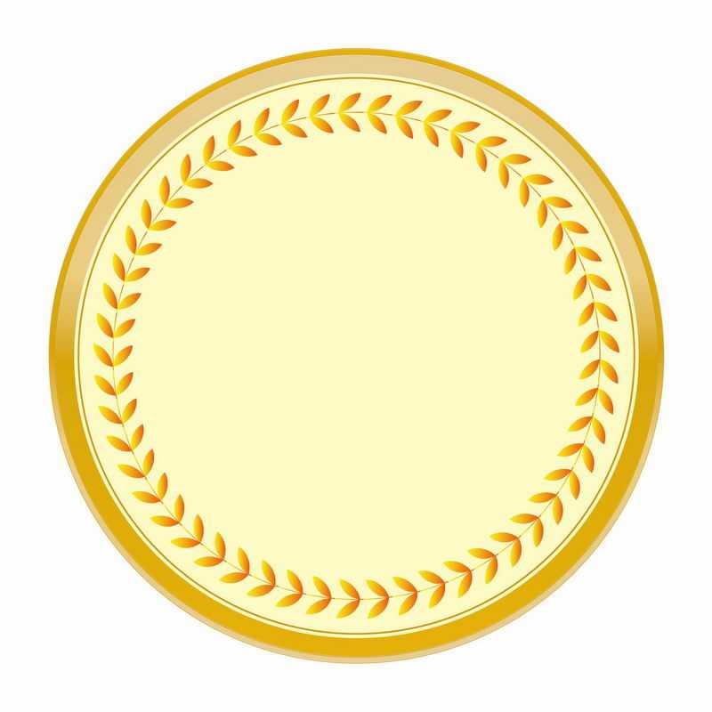 金黄色麦穗树叶徽章标志logo边框装饰5201457AI矢量图片免抠素材