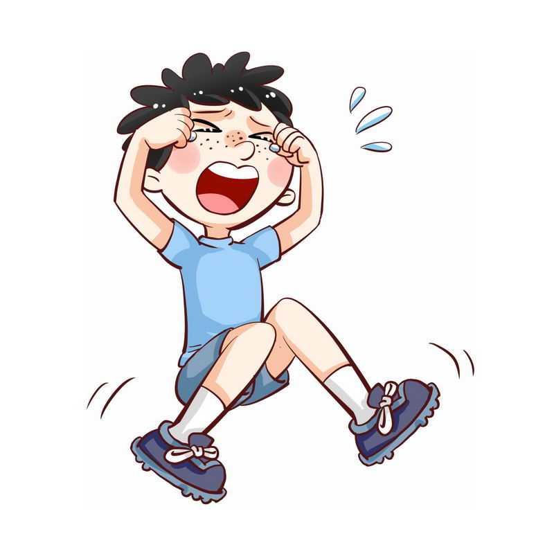 坐在地上撒泼哭闹没教养打滚的卡通小男孩8187170图片素材