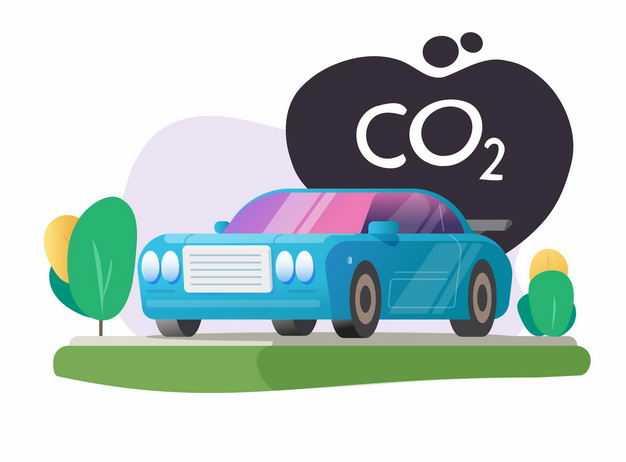 卡通小汽车排放二氧化碳CO2尾气3533617矢量图片免抠素材