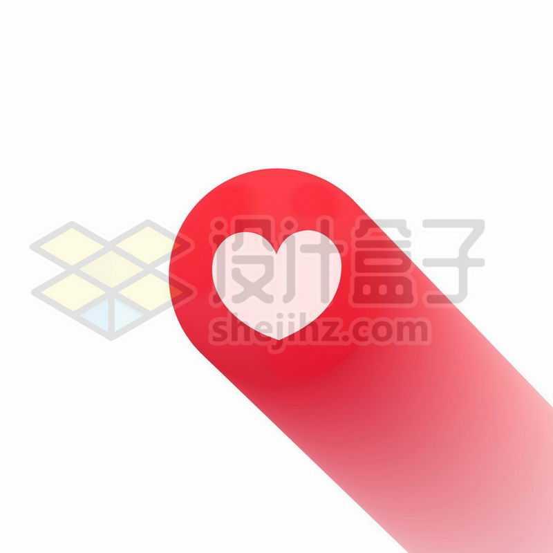 长阴影风格红心心形图案6640167矢量图片免抠素材