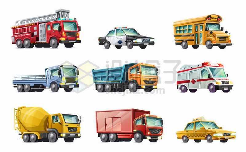 消防车警车校车散货卡车重型卡车救护车水泥车出租车等汽车9654492矢量图片免抠素材