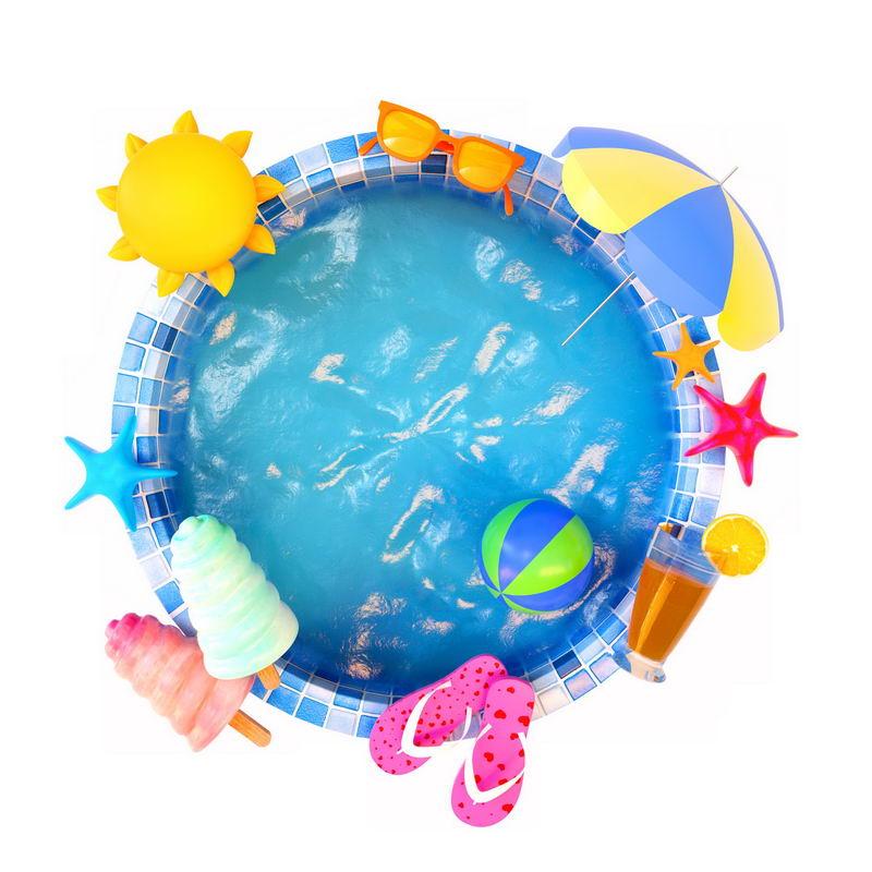 鱼眼效果的游泳池和各种热带海岛旅游元素6243092图片素材 休闲娱乐-第1张