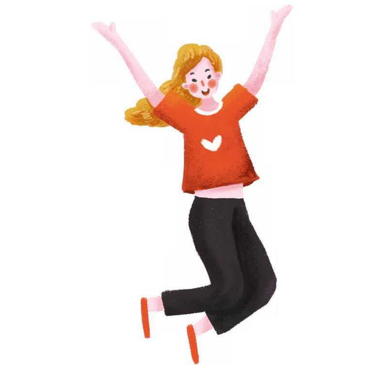 高兴得跳起来的卡通女孩手绘插画8085224png图片免抠素材
