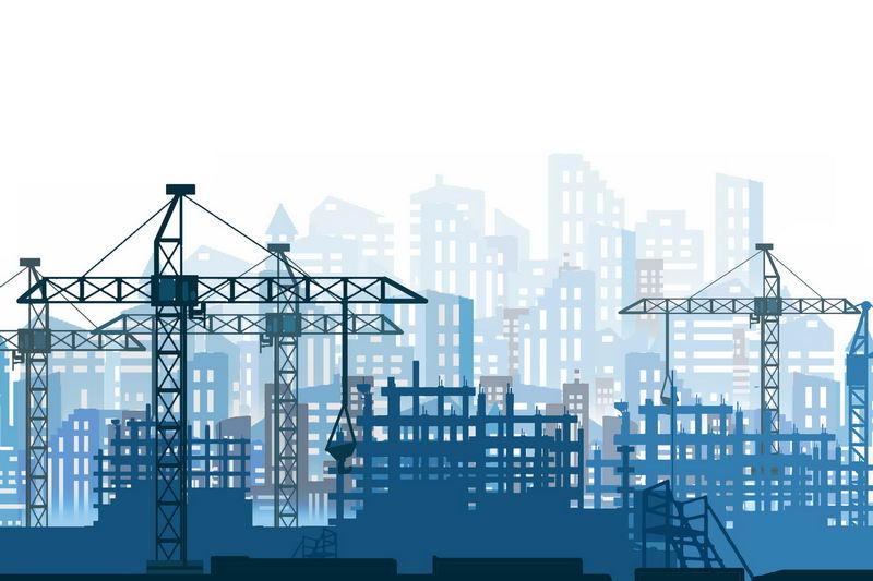 忙碌的城市建设工地和远景城市建筑蓝色剪影2523034图片素材 建筑装修-第1张
