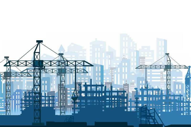 忙碌的城市建设工地和远景城市建筑蓝色剪影2523034图片素材