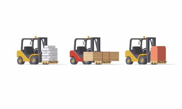 3辆叉车正在搬运建筑材料3291775矢量图片免抠素材
