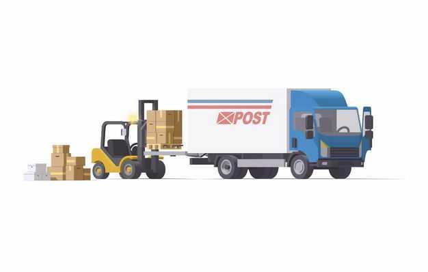 蓝色的厢式卡车和叉车正在搬运货物3462111矢量图片免抠素材