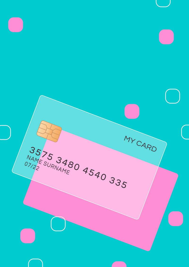 一张毛玻璃半透明效果银行卡和圆角正方形装饰1844331免抠图片素材 金融理财-第1张