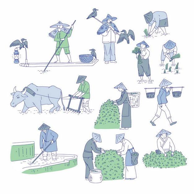中国风划着小船的渔夫和鸬鹚以及用耕牛耕田和插秧采摘茶叶的农民手绘插画6395033矢量图片免抠素材 工业农业-第1张