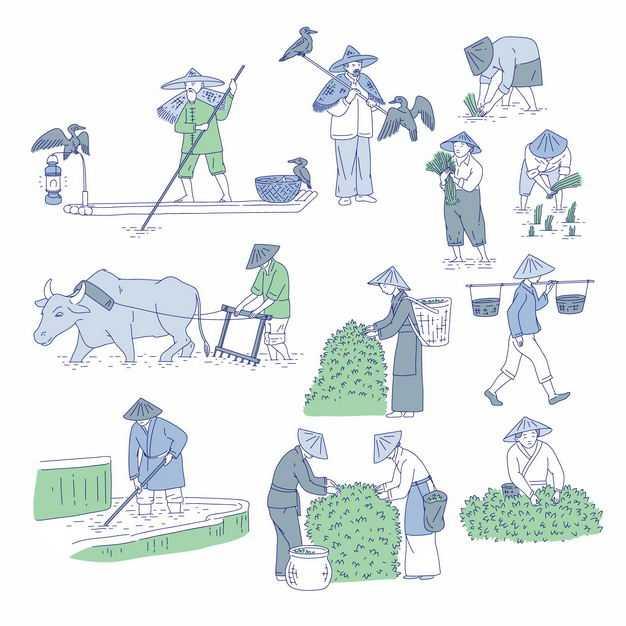 中国风划着小船的渔夫和鸬鹚以及用耕牛耕田和插秧采摘茶叶的农民手绘插画6395033矢量图片免抠素材