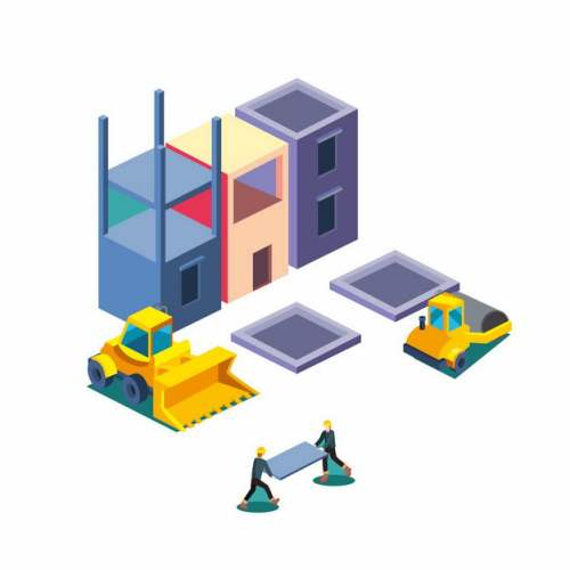 2.5D风格铲车压路机建筑工地建房子3027111矢量图片免抠素材