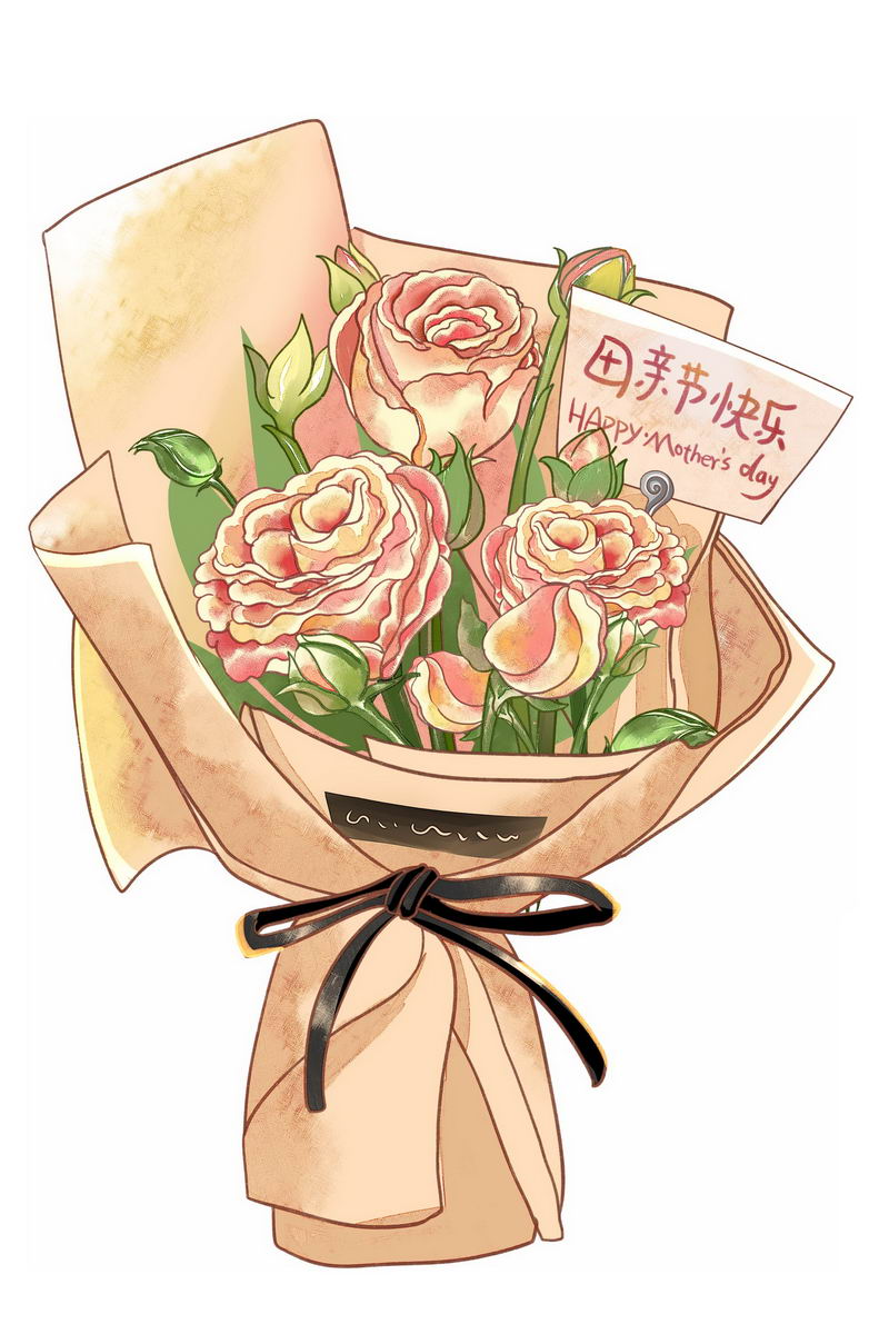 一捧鲜花康乃馨花朵中放着的卡片上写着母亲节快乐9803981图片素材 节日素材-第1张