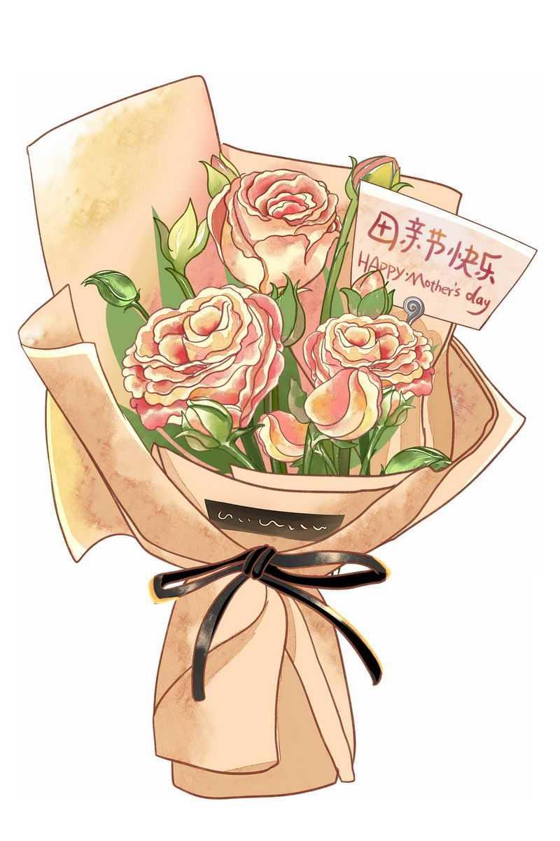 一捧鲜花康乃馨花朵中放着的卡片上写着母亲节快乐9803981图片素材