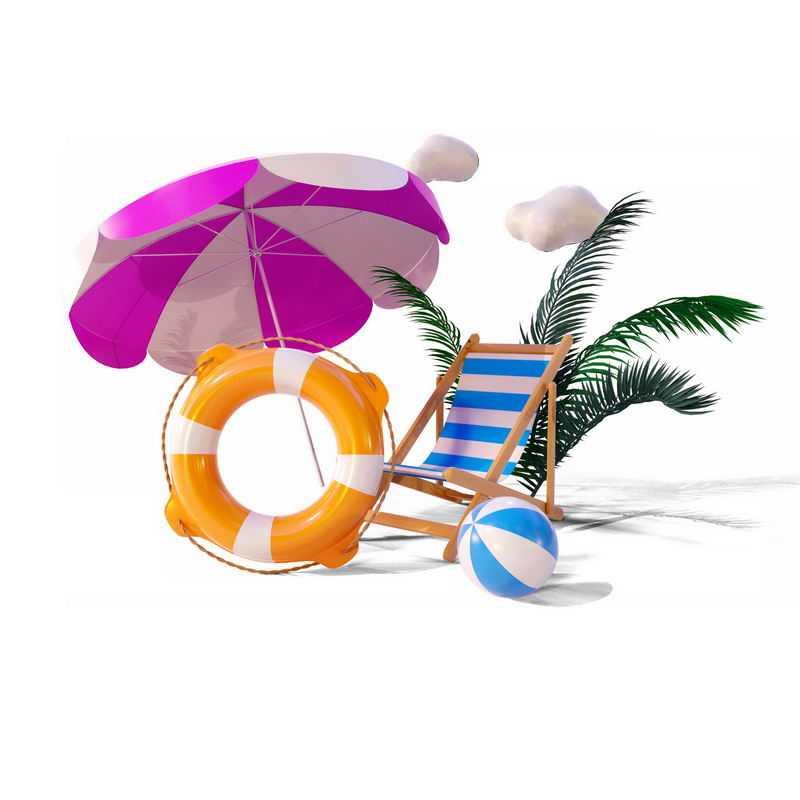 遮阳伞游泳圈沙滩椅等热带海岛旅游元素3193680图片素材