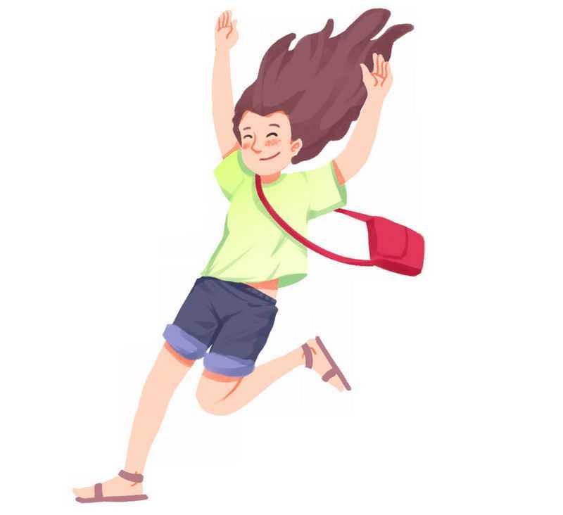 开心得跳起来背着书包的卡通女孩3802511png图片免抠素材