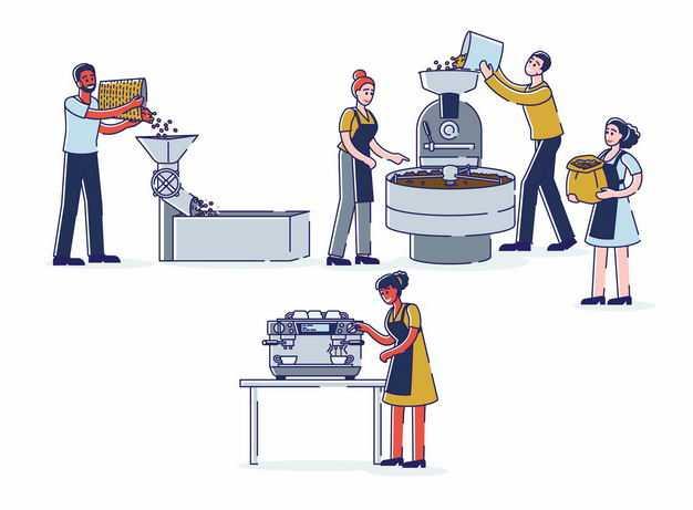 MBE风格卡通农民正在使用机器磨咖啡豆咖啡工业3761484矢量图片免抠素材