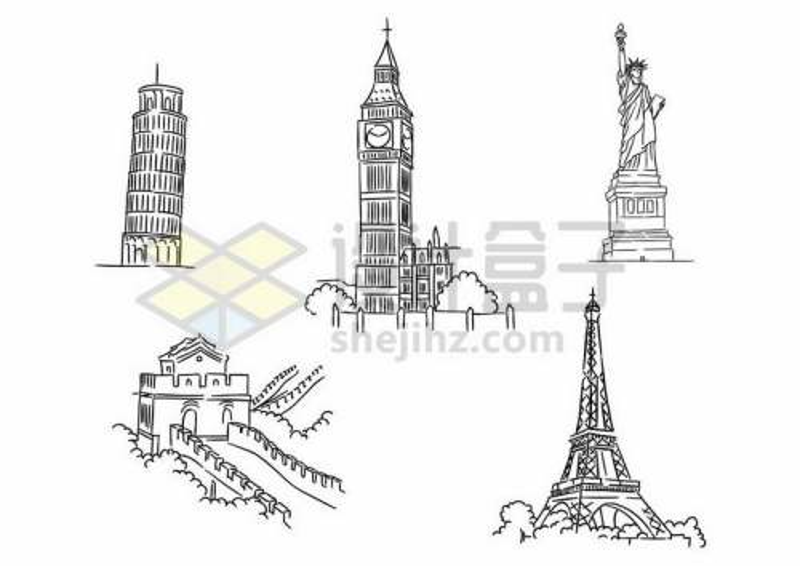 比萨斜塔伦敦钟楼自由女神像长城埃菲尔铁塔等手绘线条著名景点插画4260078矢量图片免抠素材