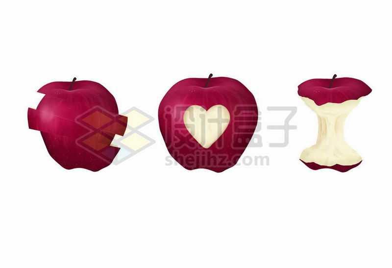 3款切开的红苹果和咬剩下的苹果核1391948矢量图片免抠素材