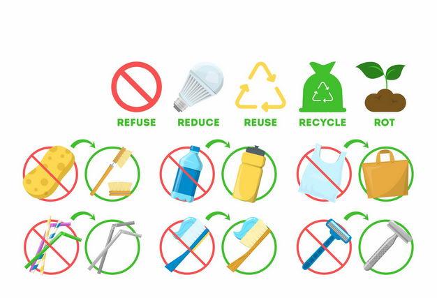各种禁止不可降解塑料垃圾和可重复使用标志1056348矢量图片免抠素材 生活素材-第1张