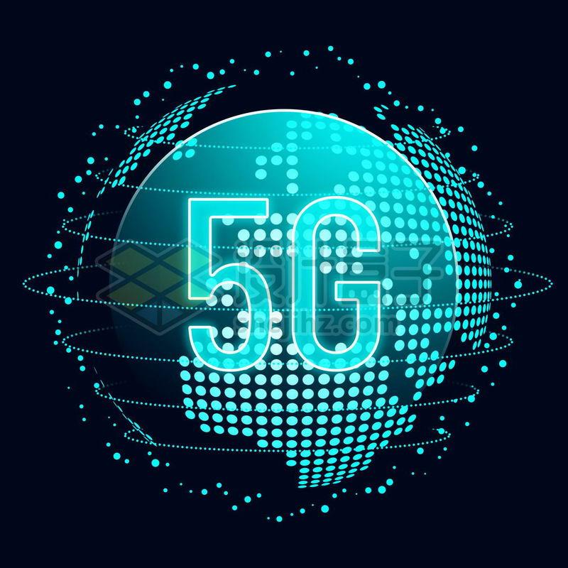 蓝色发光效果高科技风格地球和5G移动通信技术1344725免抠图片素材 IT科技-第1张