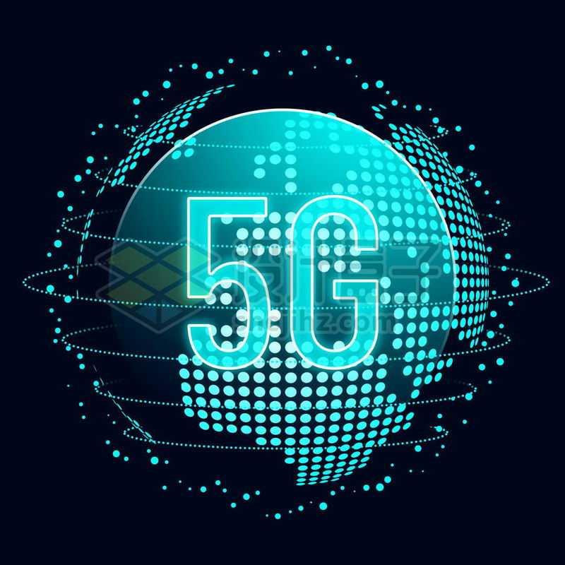 蓝色发光效果高科技风格地球和5G移动通信技术1344725免抠图片素材