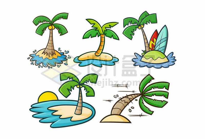 5款卡通小岛上的椰子树9287345矢量图片免抠素材